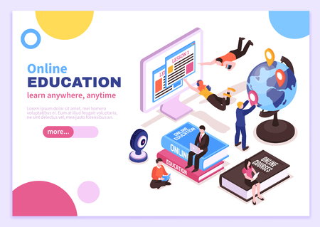 Online education isometric poster with tutorials advertising distance courses and slogan learn anywhere anytime vector illustration