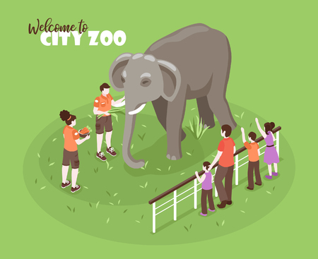 Isometric zoo workers color background with editable text and human characters with kids and big elephant vector illustration