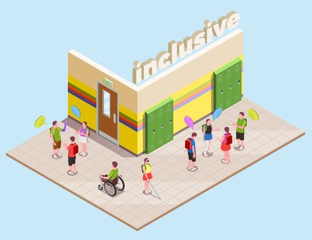Inclusive education isometric composition with disabled people in school hall 3d vector illustration