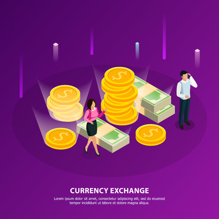 Stock exchange isometric banner with currency exchange headline and white collar make a money vector illustration
