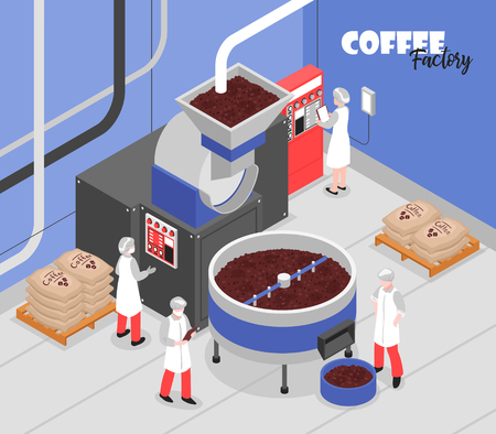 Coffee production process special machinery and factory workers 3d isometric vector illustration