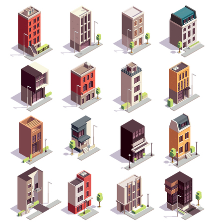 Townhouse buildings isometric set of sixteen isolated colourful buildings with multiple storeys and modern architecture design vector illustration Ilustração
