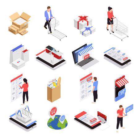 Mobile shopping icons set with ecommerce symbols isometric isolated vector illustration Reklamní fotografie - 124889946