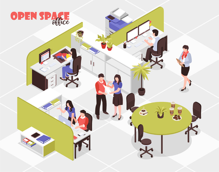 People working in big open spare office in advertising agency 3d isometric vector illustration