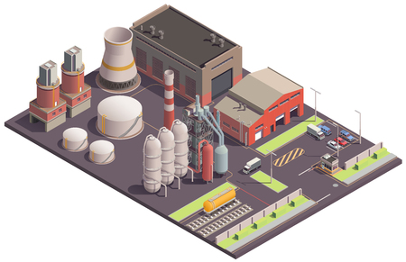 Industrial buildings isometric composition with view of plantsite area with images of plant buildings and facilities vector illustration