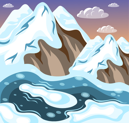 Winter landscaping snowy mountains and melting lake on background of sky and clouds isometric vector illustration