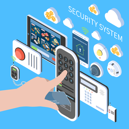 Security system composition with remote fire alarm video intercom home surveillance system isometric icons vector illustration