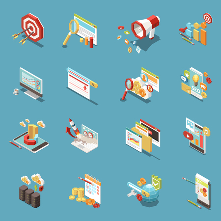 Web SEO isometric icon set with work elements and abstract isolated tools graphs cups of coffee money and flags vector illustration