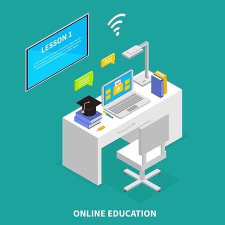 Online education concept with lessons and exams symbols isometric  vector illustration
