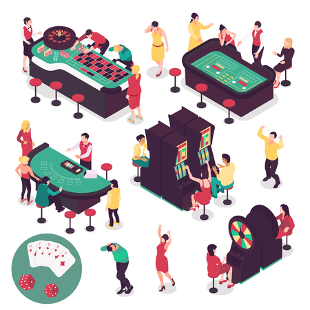 Casino and gambling isometric set with winning and losing symbols isolated vector illustration Illustration