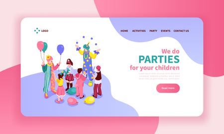 Composition de conception de page de site Web de couleur d'animateur d'enfants isométriques avec des liens de boutons cliquables et des images d'illustration vectorielle d'artistes Vecteurs