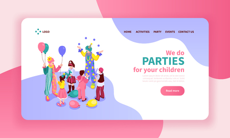 Isometric kids animator color website page design composition with clickable buttons links and images of entertainers vector illustration