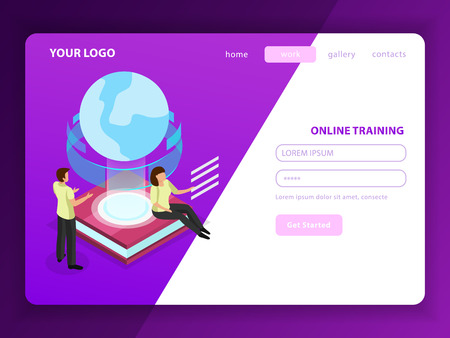 Online training landing page with male and female characters and glow globe icon as symbol of learning without geographical borders vector illustration Stock Vector - 124889955