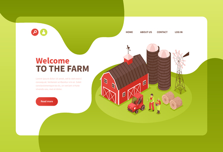Isometric farm concept banner with landing page elements clickable text links read more button and pictures vector illustration Ilustração