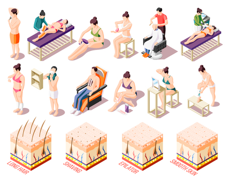 Ways of hair removal and people doing epilation in salon and at home isometric icons set isolated on white background 3d vector illustration