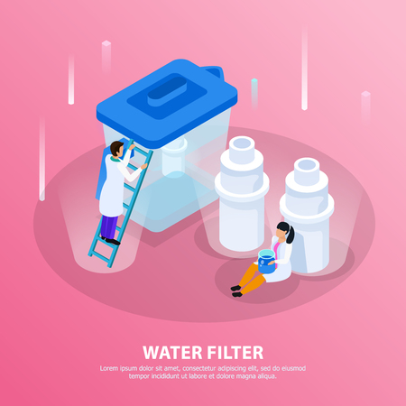 Water purification isometric background with water filter headline and scientists at the lab vector illustration