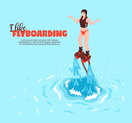 Extreme summer water sport isometric poster with young woman in swimsuit on flyboard vector illustration Illusztráció