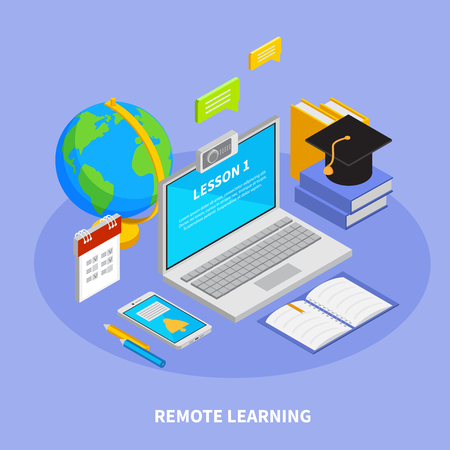 Online education concept with remote learning symbols isometric  vector illustration