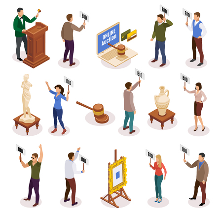 Auction isometric and isolated icon set with people with nameplate in their hands vector illustration