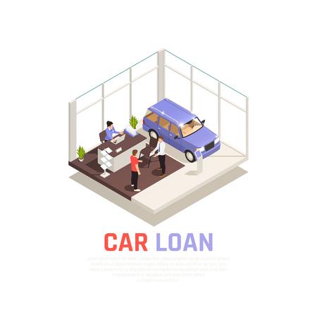 Concetto di concessionaria auto con illustrazione vettoriale isometrica di simboli di prestito auto