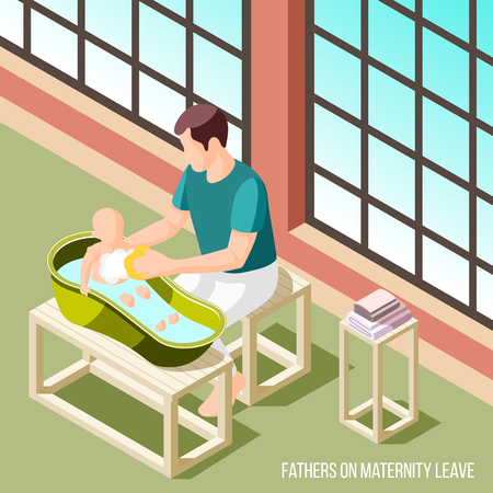 Fathers on maternity leave 3d vector illustration with man washing his child in baby bath in home interior