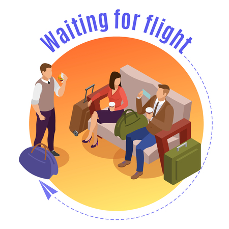 Travel people round design concept with passengers waiting for flight in airport lounge isometric vector illustration Illustration