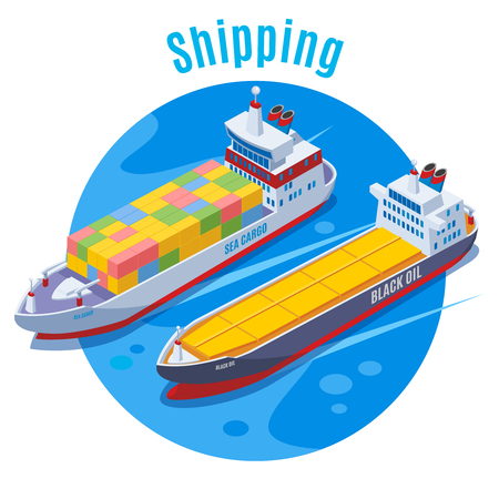 Round seaport isometric background with two logistic ship on blue fond and big headline shipping vector illustration Illustration