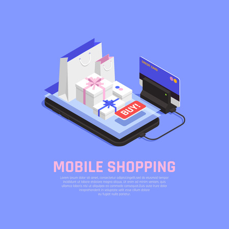 Mobile shopping and ecommerce concept with online orderind symbols isometric vector illustration