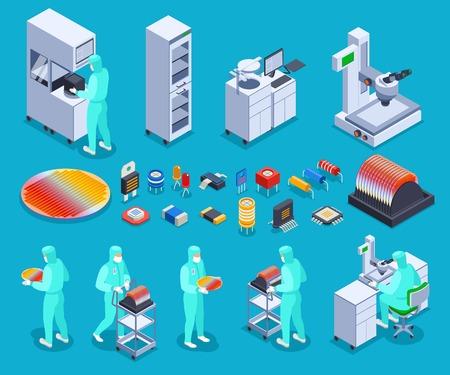 Iconos de producción de semiconductores establecidos con tecnología y símbolos de ciencia isométrica ilustración vectorial Ilustración de vector