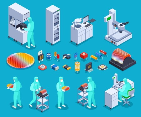 Semicondoctor production icons set with technology and science symbols isometric isolated vector illustration Çizim