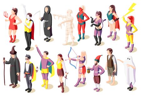 Le icone isometriche di travestimento messe con la gente che indossa i costumi della mummia salvia demone fantasma supereroe pirata gnomo hanno isolato l'illustrazione Vettoriali