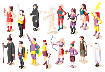 Masquerade isometric icons set with people wearing costumes of mummy sage demon ghost superhero pirate gnome isolated vector illustration