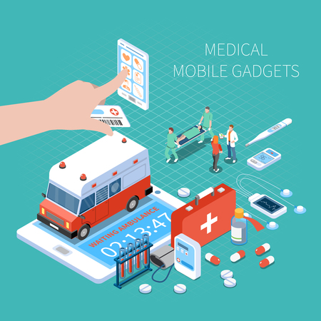 Medical mobile gadgets for health monitoring and call ambulance isometric composition on turquoise background vector illustration Banco de Imagens - 117893756