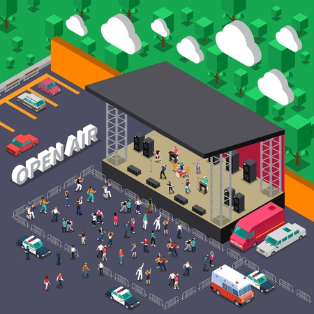 Open air music concert isometric vector illustration with rock band on stage and dancing youth in viewers zone