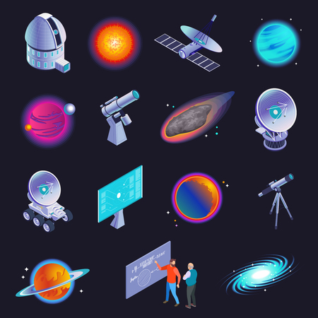 Astrophysics isometric icons with radio telescope spiral galaxy stars planets comet scientists formula black background vector illustration Illustration