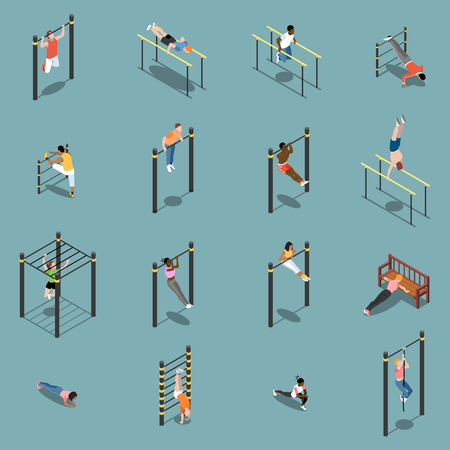 Street workout warm up and exercises on sports equipment isometric icons isolated on turquoise background vector illustration Illustration