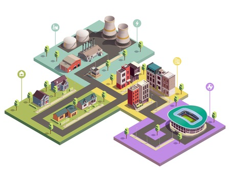 Suburbian buildings isometric composition with view of city blocks of different domain with flat pictogram icons vector illustration Illustration