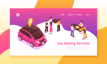 Car pooling service isometric horizontal banner on colorful background with people sharing vehicle 3d vector illustration Illustration