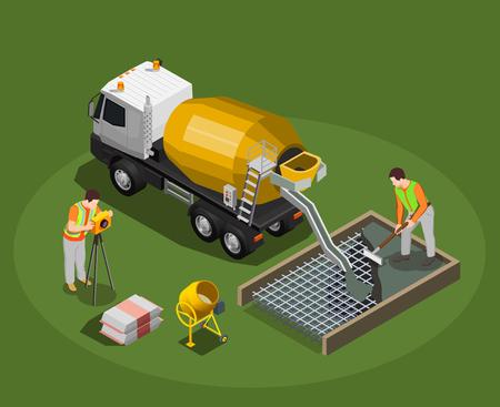 Isometrische Zusammensetzung der Betonproduktion mit Mischtrommel und Betonmischermaschine mit menschlichen Charakteren der Arbeitervektorillustration Vektorgrafik