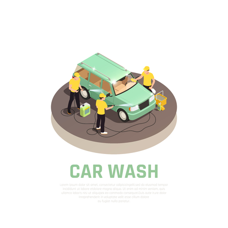 Carwash isometric consept with car wash service symbols vector illustration