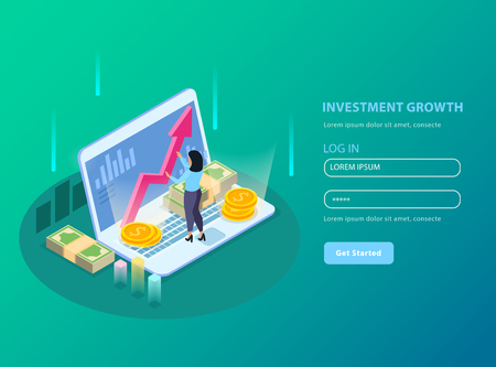 Stock exchange isometric and colored background with investment growth headline and registration form vector illustration Çizim