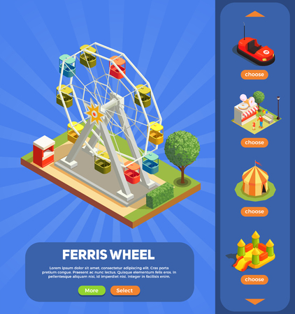 Amusement park web page with ferris wheel composition 3d isometric vector illustration