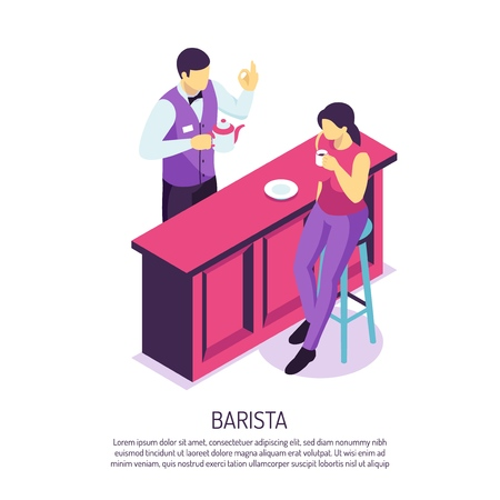 Barista with tea pot near bar desk during customer service on white background isometric vector illustration