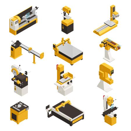 Le icone del macchinario industriale hanno messo con l'illustrazione isometrica di vettore isolata di simboli di tecnologia Vettoriali