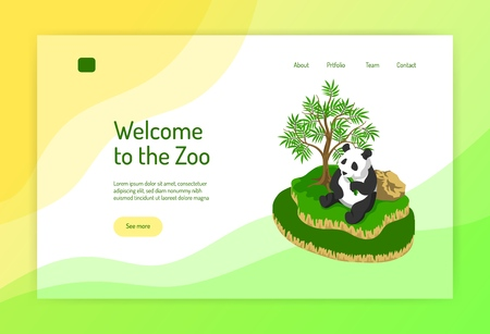 Zoo isometric concept of web page with panda during eating near tree on color background vector illustration