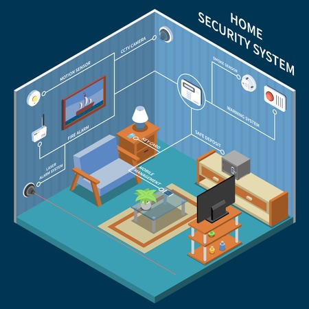 Home security isometric background with  cctv camera smoke sensor fire alarm safe deposit laser alarm system elements vector illustration