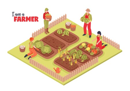Isometric farm garden background composition with group of human characters in farmstead with plants and text vector illustration