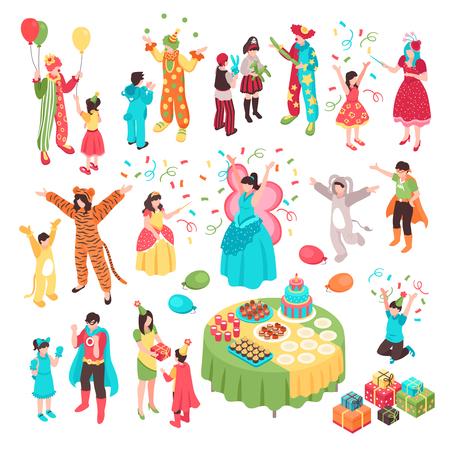 Fête de vacances animateur enfants isométrique sertie de personnages humains isolés artistes adultes en costumes et illustration vectorielle pour enfants