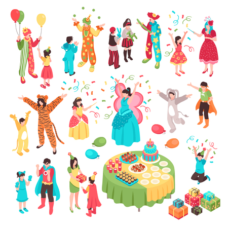 Isometric kids animator holiday party set with isolated human characters adult entertainers in costumes and children vector illustration