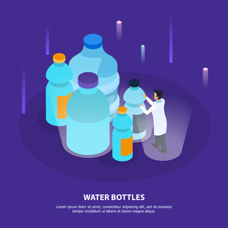 Water purification isometric background with small plastic bottles for retail sale and large containers for cooler vector illustration